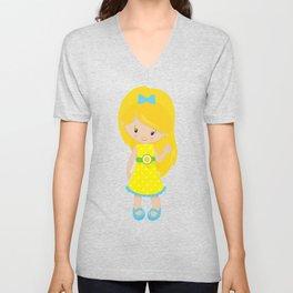 Lemon Girl, Blonde Hair, Yellow Dress, Blue Shoes Unisex V-Neck