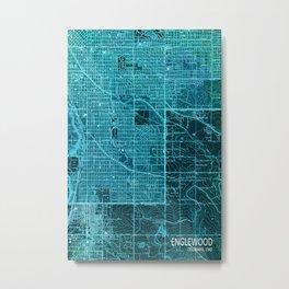 Englewood old map, year 1940, blue artwork Metal Print