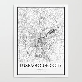 Luxembourg City Map Luxembourg White and Black Poster