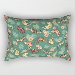 Gecko family in green Rectangular Pillow