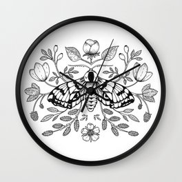Moth with Berries and Rosehip Wall Clock