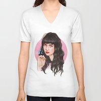 grimes V-neck T-shirts featuring Grimes III  by Helen Green