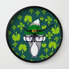St. Patrick's Day decor with cute little fox Wall Clock