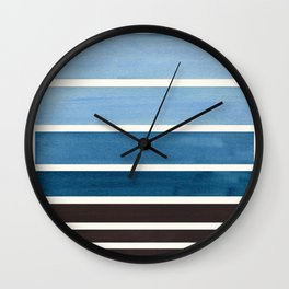 Green Blue Minimalist Watercolor Mid Century Staggered Stripes Rothko Color Block Geometric Art Wall Clock
