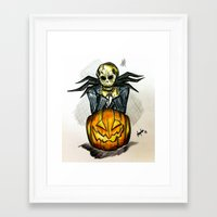 jack skellington Framed Art Prints featuring Jack Skellington  by Aonerud