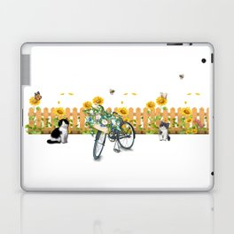 Cats Summer Garden Bike Butterflies Laptop & iPad Skin