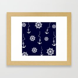 Nautical Navy Pattern with Anchors and Steering Wheels Framed Art Print