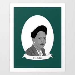 Ella Baker Illustrated Portrait Art Print