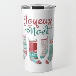 Joyeux Noel cute Christmas socks watercolor Travel Mug