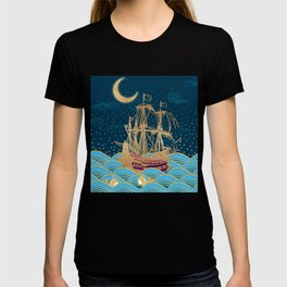 Naval Fleet Under the moonlight with little whales   Ocean cruise Sailing boat T-shirt