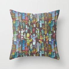 Watercolor Cacti - Browns Throw Pillow