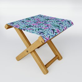 Blue Pink Tropical Leaves Pattern Folding Stool