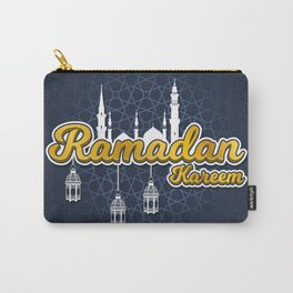 Golden Ramadan Kareem in Cartoon 3D Word with Silhouette of Prophet Muhammad's Mosque and Lantern Carry-All Pouch