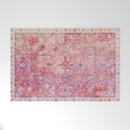 N45 - Pink Vintage Traditional Moroccan Boho & Farmhouse Style Artwork. Welcome Mat