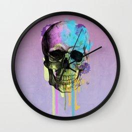 skull in purple Wall Clock