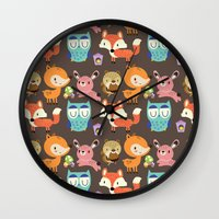 woodland Wall Clocks featuring Woodland by Maria Jose Da Luz