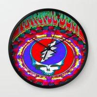 grateful dead Wall Clocks featuring Grateful Dead #10 Optical Illusion Psychedelic Design by CAP Artwork & Design