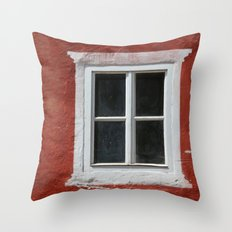 Red and White Window Throw Pillow