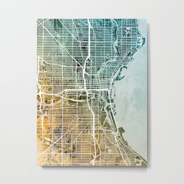 Milwaukee Wisconsin City Map Metal Print