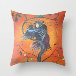 Gamaun The Prophetic Bird With Ruffled Feathers Throw Pillow