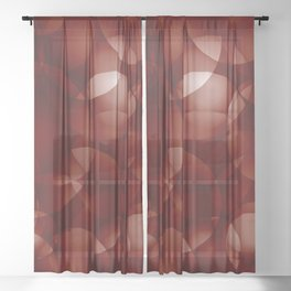 Dark intersecting burgundy translucent circles in bright colors with a brick glow. Sheer Curtain