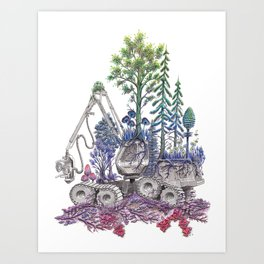 Reforestation - Rainbow Nature on Logging Machine Art Print