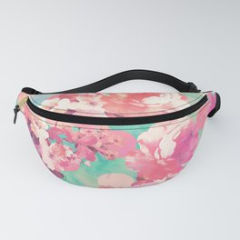 Romantic Pink Retro Floral Pattern Teal Polka Dots Fanny Pack