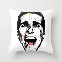 american psycho Throw Pillows featuring American Psycho by CultureCloth