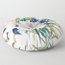 White Peonies, Asian Watercolor design Garden Peonies White lofral art Floor Pillow