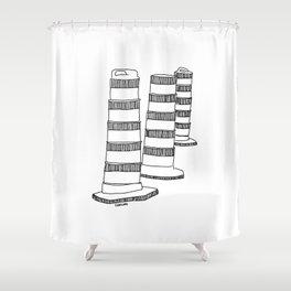 Montreal - Cones oranges - Black Shower Curtain