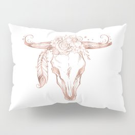 Rose Gold Bull Skull with Pink Feather Flowers Pillow Sham