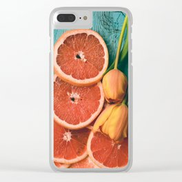 Grapefruit and Tulips Clear iPhone Case