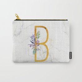 Modern glamorous personalized gold initial letter B, Custom initial name monogram gold alphabet prin Carry-All Pouch