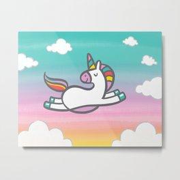 Unicorn in the Clouds Metal Print