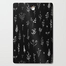 Black wildflowers Cutting Board