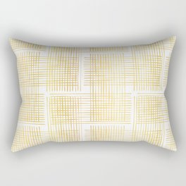 Luxe Gold Criss Cross Weave Hand Drawn Vector Pattern Background Rectangular Pillow