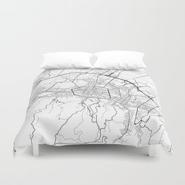 Bologna Map, Italy - Black and White Duvet Cover