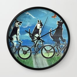 Five Doggos and a Cat Wall Clock