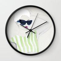 velvet underground Wall Clocks featuring Velvet by Jenny Liz Rome