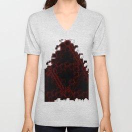 Blood-red pixel triforce Unisex V-Neck