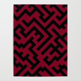 Black and Burgundy Red Diagonal Labyrinth Poster