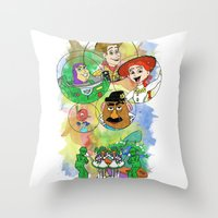 pixar Throw Pillows featuring Disney Pixar Play Parade - Toy Story Unit by Joey Noble
