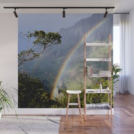 Rainbow Through the Rain: Kauai, Hawaii Wall Mural