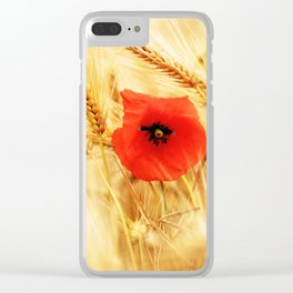 Poppies in the cornfield Clear iPhone Case
