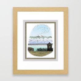 THE BIG WAVE PEN DRAWING COLOR VERSION Framed Art Print