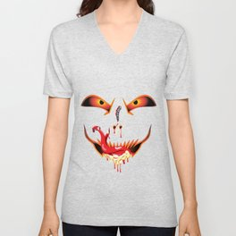 Scary Halloween evil funny face dropping blood from nose and sucking bloody saliva with sneak tongue Unisex V-Neck
