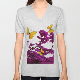 YELLOW BUTTERFLIES & PURPLE BOUGAINVILLEA FLOWERS Unisex V-Neck