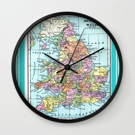 Vintage Map  of England and Wales Wall Clock