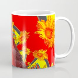 RED CARDINAL YELLOW SUNFLOWERS RED ART Coffee Mug