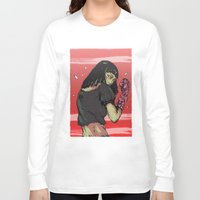 cyberpunk Long Sleeve T-shirts featuring Ready to rumble - Cyberpunk girl by Printableink